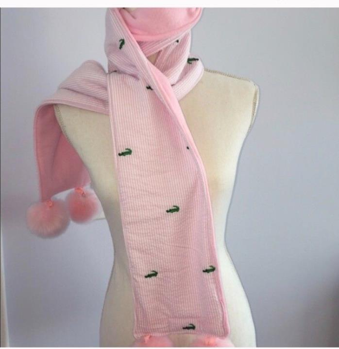 preppy pink and Green Alligator Fleece Pompom Scarf