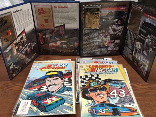 Dale Earnhardt Sr Jr 23kt Gold Cards Race Used Sheet Metal And 13 Nascar Comics