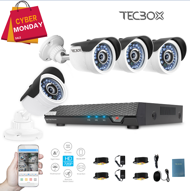 Tecbox Home Security Camera System HDMI AHD DVR 4 CH 720P 1.3MP Indoor/Outdoor
