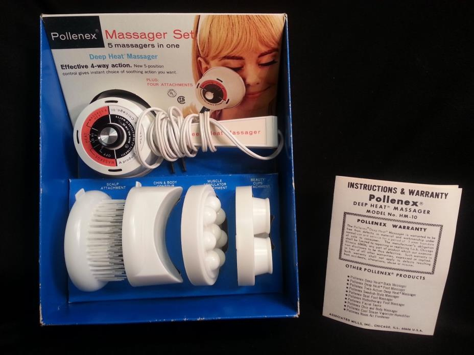 POLLENEX Deep Heat Massager Set 5-in-1 with 4 Attachments - Vintage in Orig Box!