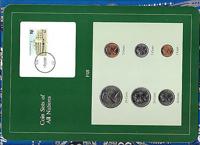Coin Sets of All Nations Fiji 1982-1987 UNC 5, 20 Cents 1987  1, 10 Cents 1986
