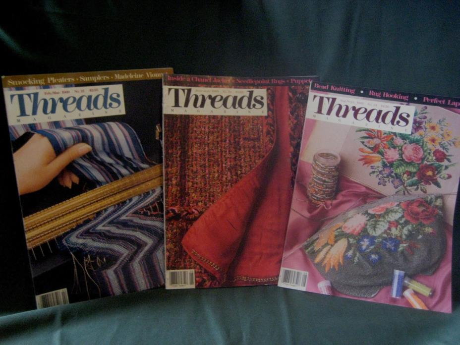 THREADS magazine vtg back issue LOT G 1989 #21 23 24 couture sewing needlework