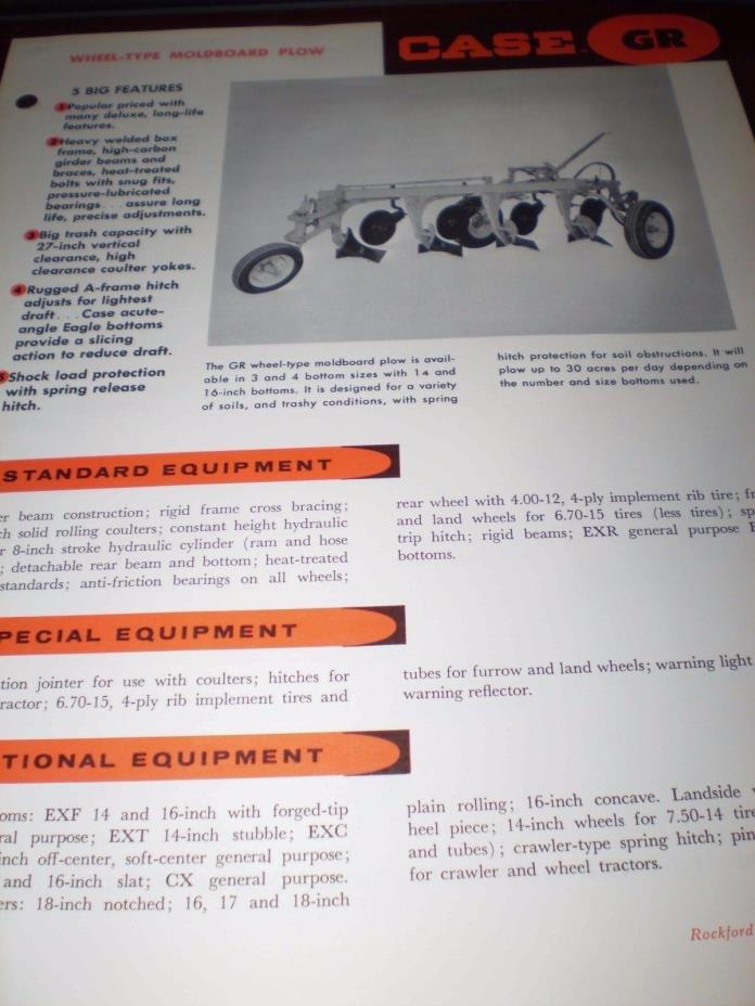 JI Case GR, GT Wheel-Type Moldboard Specifications Brochures 2 items