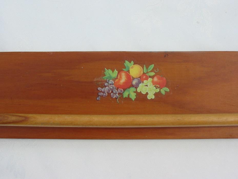 Vtg Antique Handmade Wood Wooden Towel Bar Holder Kitchen Fruit Retro Old Hanger