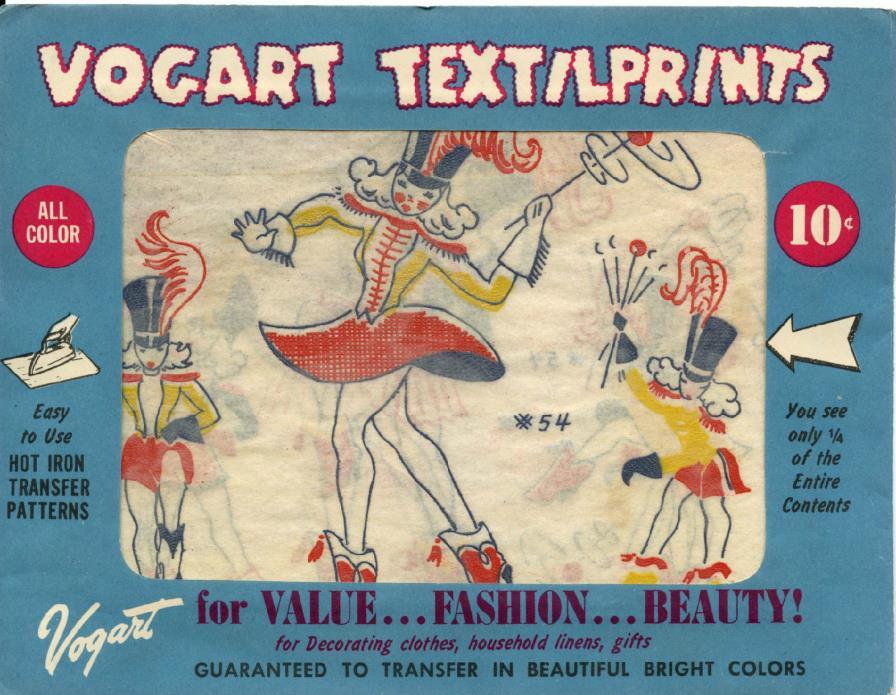 Vogart Transfer Pattern Majorette Iron On Embroidery, Textiles, Vintage  Unused