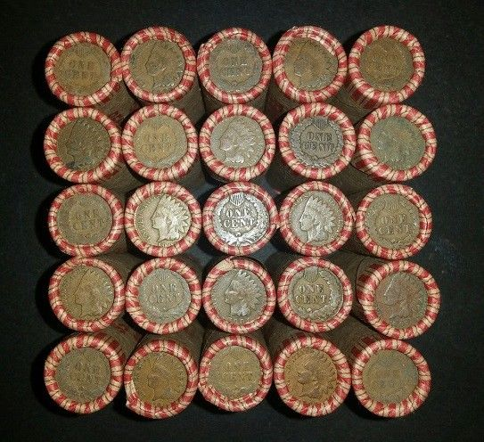 25 SEALED UNSEARCHED PENNY ROLLS - 1,250 MIXED WHEAT & INDIAN HEAD CENTS AE2
