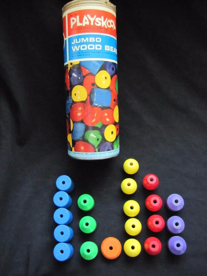 1969 PLAYSKOOL #702 JUMBO WOOD BEADS 6 Colors 5 Shapes  NON TOXIC Excellent