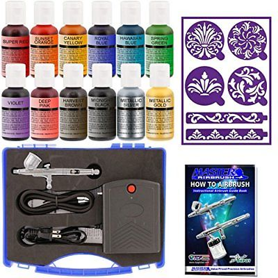 Master Airbrush Cake Decorating System Precision Dual-action Gravity Feed Set 12