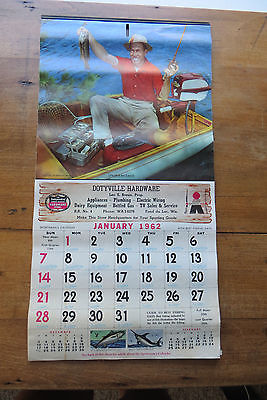 Old 1962 Dotyville Hardware promotional calendar, sportsman, Johnson Motors, adv