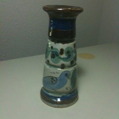 Ken Edwards Tonala El Palomar Blue Bird Pillar Candle Mexico Pottery 7