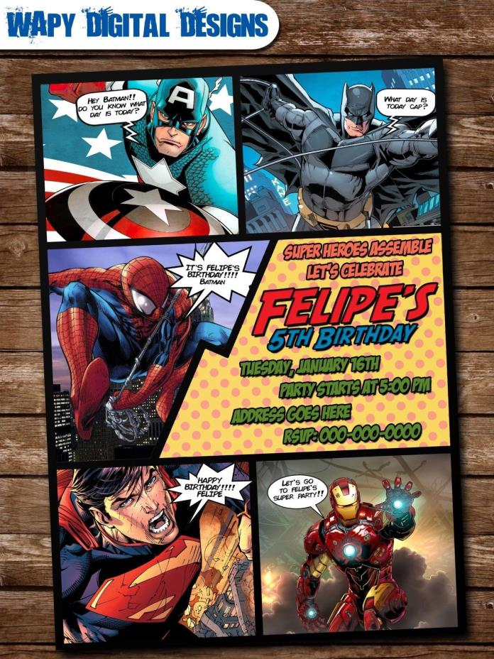 Super Heroes Digital Party Invitation Custom Birthday Iron Man Thor Batman