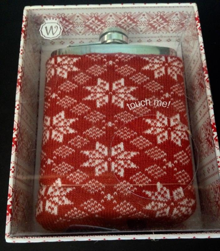 Wild Eye Hip Flask - 7 fl. oz. - Stainless Steel - Soft Knit Red & White Cover