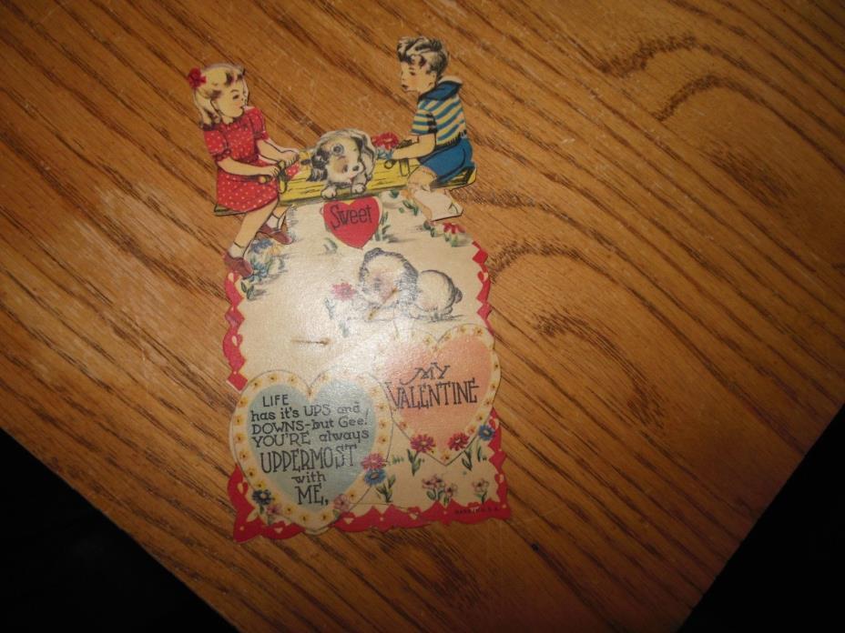 1930's Vintage Kids On See Saw Mechanical Valentine Card Valentine's Day