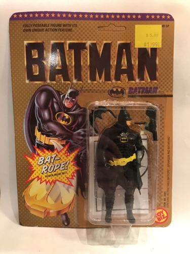 1989 batman action figure with bat rope Round Jaw by Toy Biz vintage in the box
