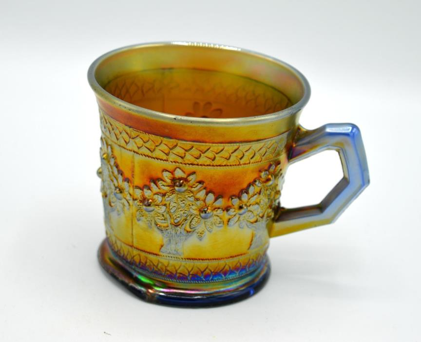 Vintage Fenton Blue Carnival Glass Shaving Mug - Orange Tree Pattern
