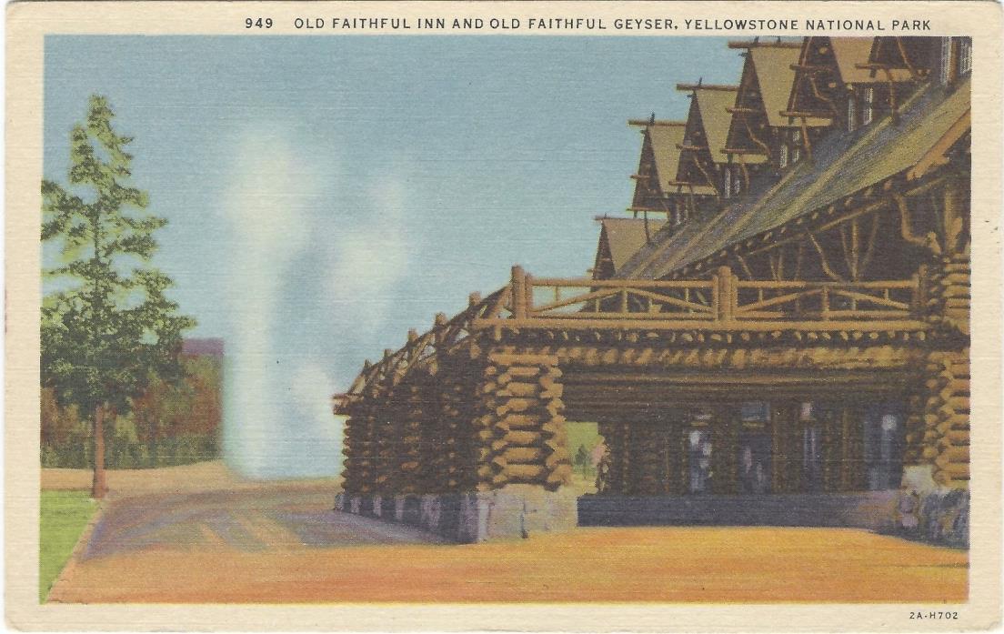 YELLOWSTONE NATIONAL PARK, Old Faithful Inn & Old Faithful Geyser, Postcard