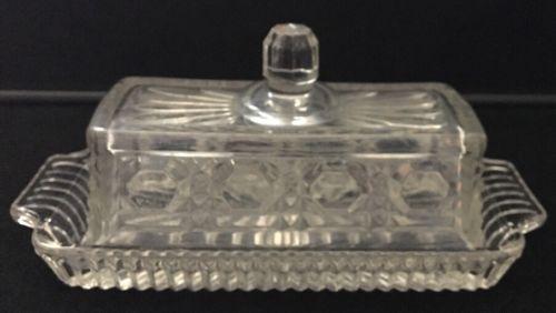 Vintage Windsor Pattern Pressed Glass Butter Dish