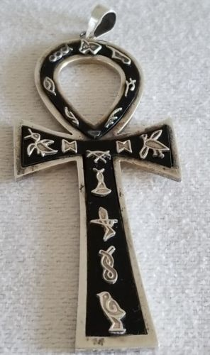 Antique LARGE Middle Eastern Silver Hand Engraved /Onyx Inlaid CROSS Pendant