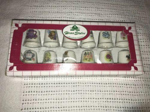 Porcelain 12 pc Thimble With various designs Home Floral