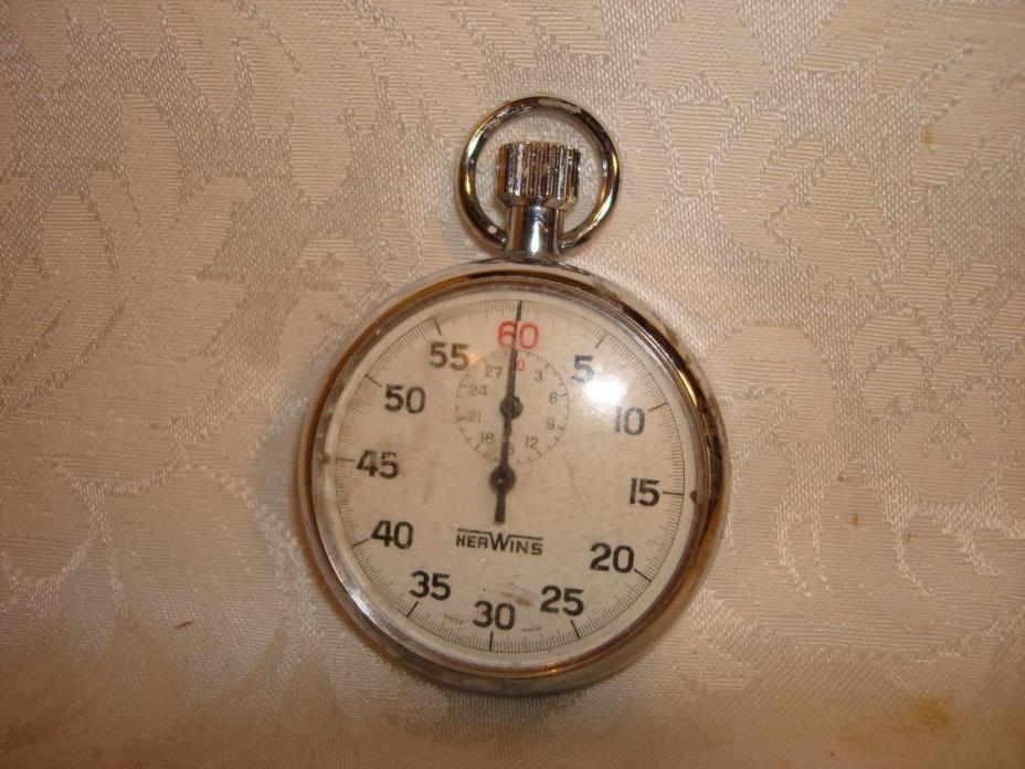 Vintage pocket stopwatch HERWINS mechanical stopwatch part or repair