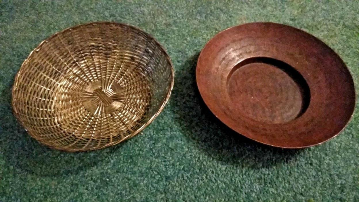 Vintage South Western ? Solid Copper Decorative Bowl & Silver Plate Woven Basket