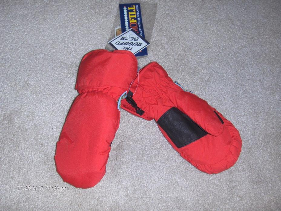 NWT RUGGED BEAR red 100% nylon  waterproof mittens    Sz - XS
