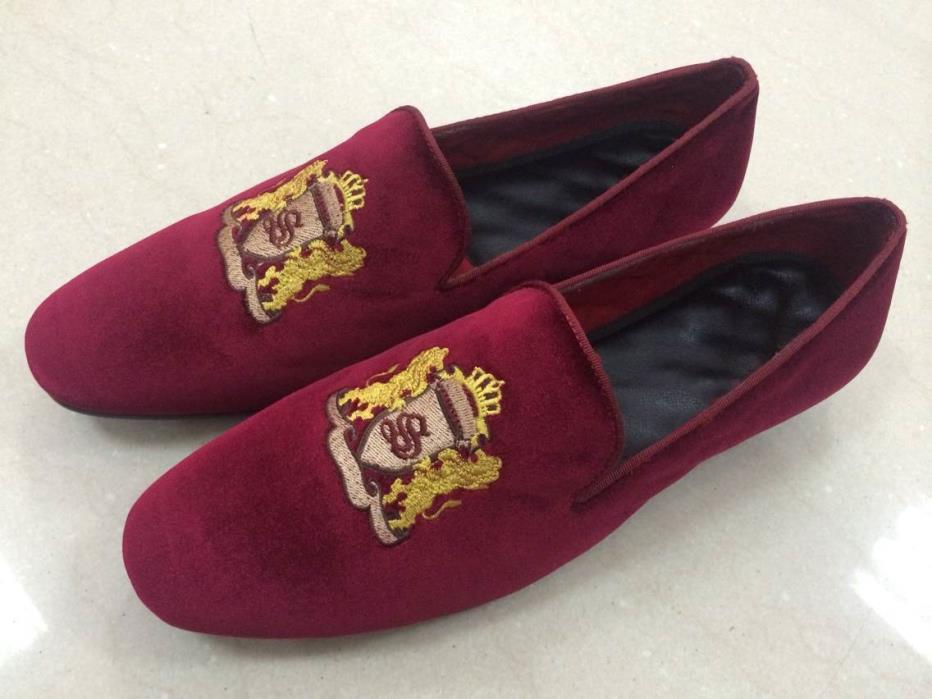 MEN SIDNEY COLLECTION BURGUNDY VELVET LOAFERS/SLIPPERS SIZES 10