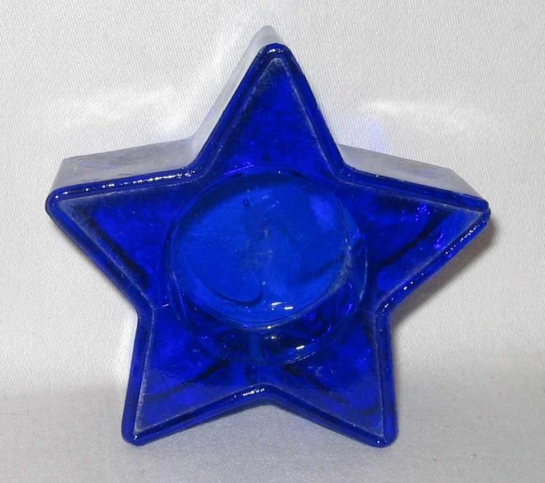 Cobalt Blue Glass Star Shaped Votive Candle Holder
