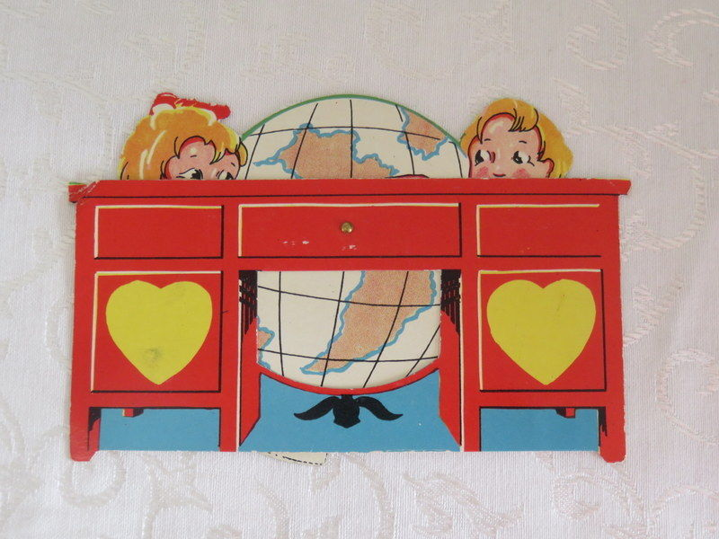 Mechanical Vintage Valentine, Hugging a Globe