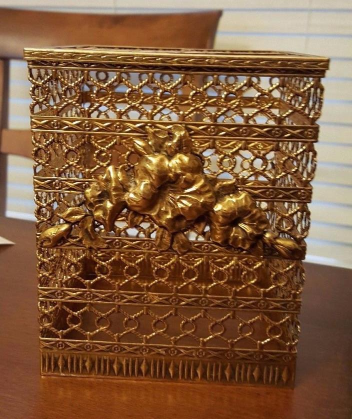 BRASS Filigree Hollywood Regency Style Kleenex Tissue Holder Cover BOX
