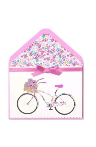 Papyrus greeting card Any Occasion (blank) Handmade Bike with Basket of Flowers