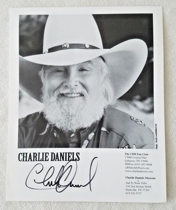 CHARLIE DANIELS Signed 8x10 Photo Autographed Black and White Promotional Band