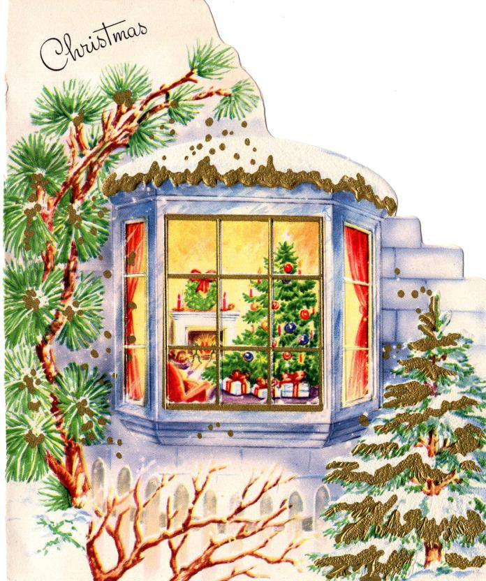 Vintage Christmas Card-  Fireplace Scene Through Bay Window