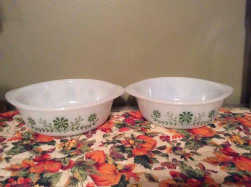 2 Vintage Glasbake Jeanette Green Daisy Casserole Dishes -Round