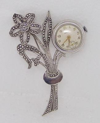 Vintage RENSIE Winding Watch in Solid Sterling Silver Ladies Brooch w/Markesites