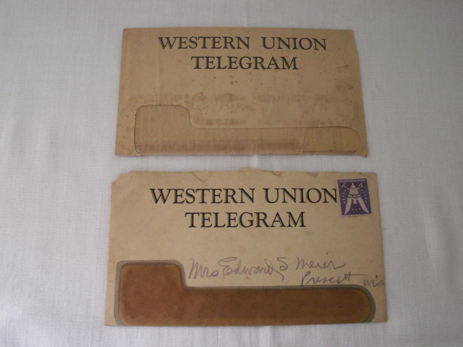 WESTERN UNION TELEGRAMS 2 1944 DEATH NOTICE BIRTH NOTICE Prescott WI Moberly MO