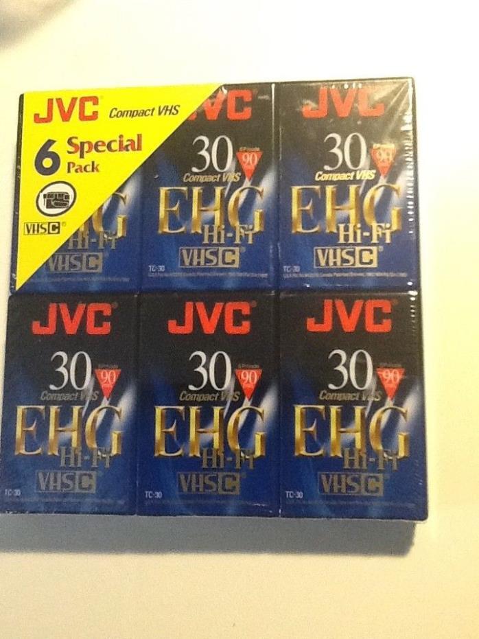NEW JVC EHG Hi-Fi Compact VHS Camcorder Tape TC-30 90 minutes 6 pack