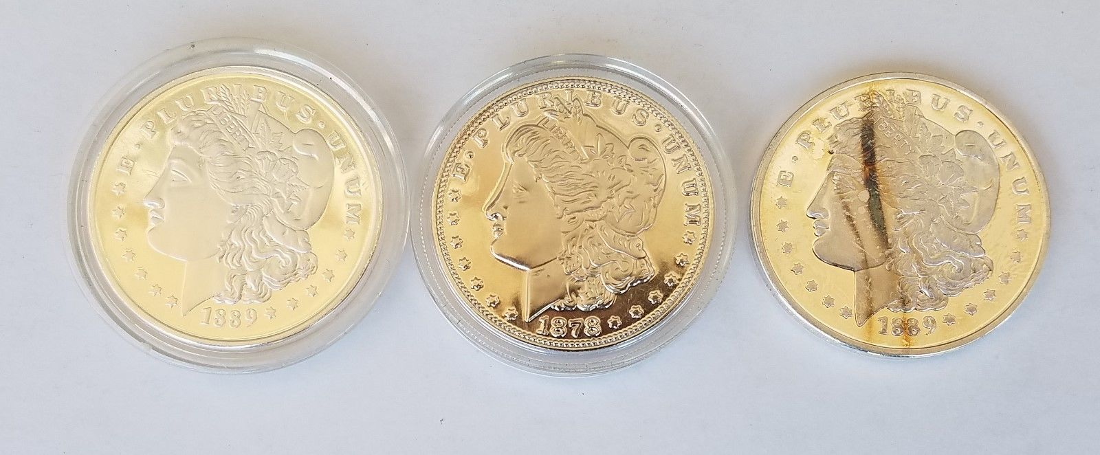 LOT of 3 - Morgan One Dollar Reproduction COPY Silver Art Medal Collectible