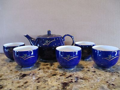 Vintage Cobalt BlueTeapot with 4 tea cups