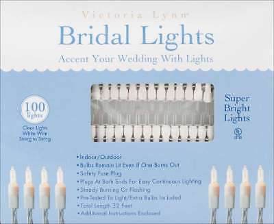 Victoria Lynn Bridal Lights 100 Count 32' Clear Bulbs W/White Wir 652695369735
