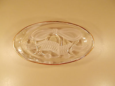 Mikasa Studio Nova Christmas Holiday Bells Heavy Cast Glass Oval Candy Dish NWOB