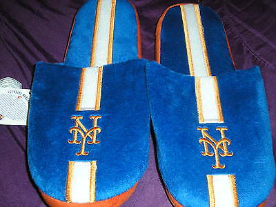 New York Mets Mens Slip On Slippers Stripe