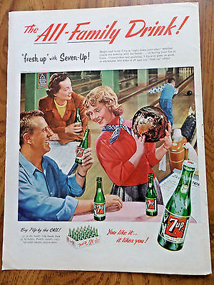 1953 7up Soda Pop Bottle Ad Family Bowling Theme