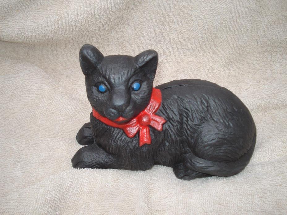 CAST IRON  RED COLLAR BLACK CAT  KITTEN DIME BANK  6.5'' X 4.25 ''