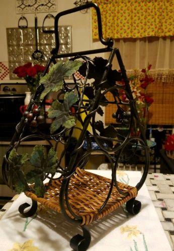 Vintage Cast Iron & Wrought Wine Bottle Holder Carrier Caddy Grape Leaf Design