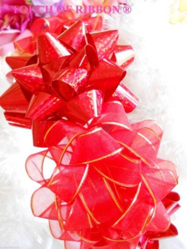 6 Red Pre-Made Ribbon & Poly Gift Bows Peel Stick Christmas Decorations 3 1/2