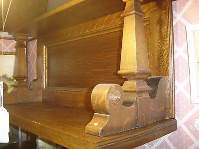 Antique Qtr Sawn Oak Shelf with Two Pillars.                            7609