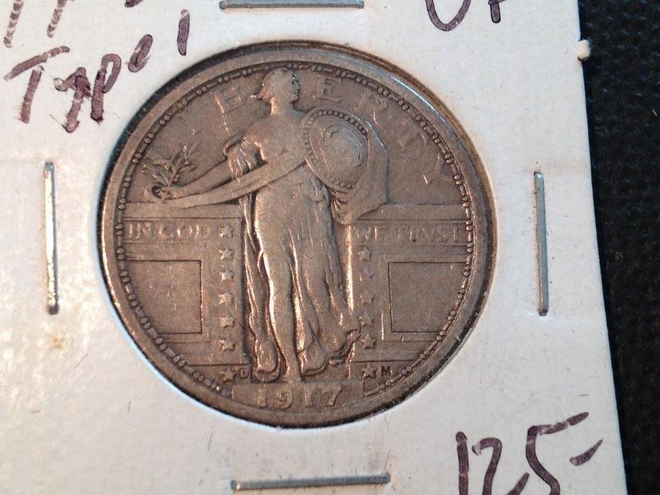 1917-D Type 1  VF  Standing Liberty Quarter   Nice Coin
