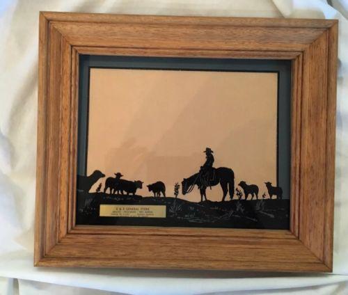 Vintage Western Art Diploma Framed License Holder Grocery Store Damar, Kansas