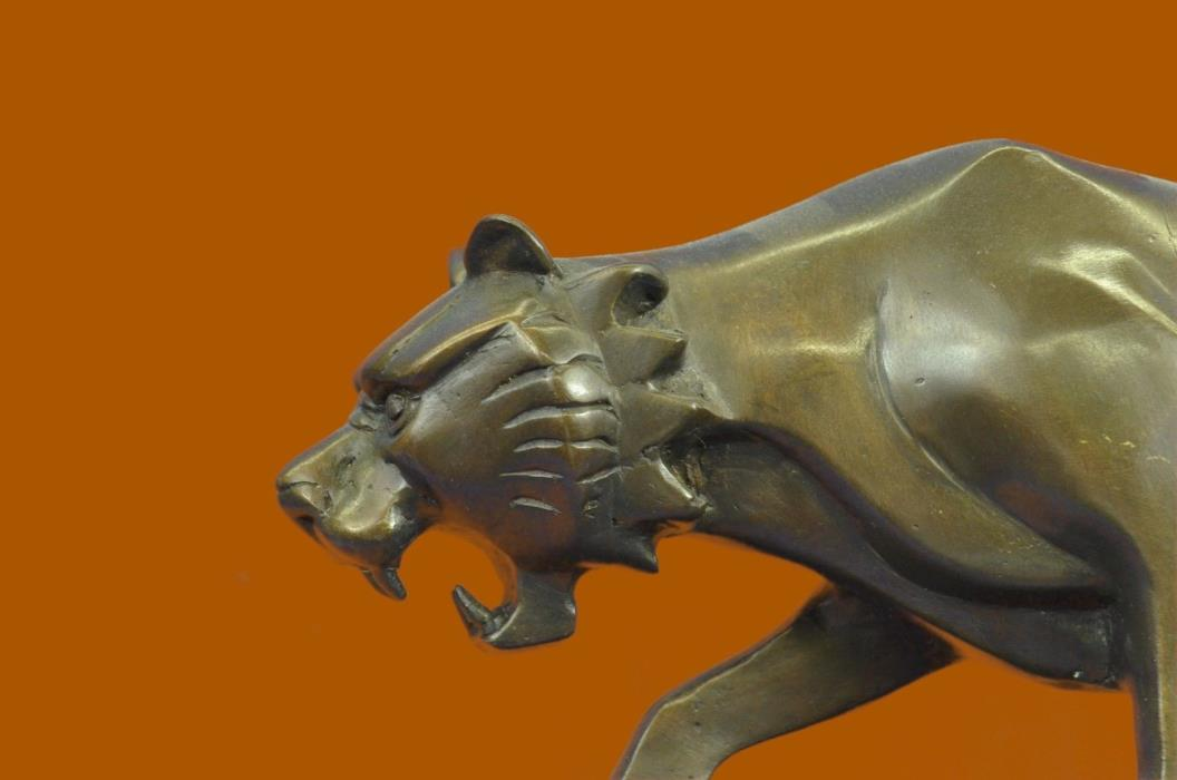 Huge Sale Art Large Tiger Bronze Sculpture Marble Base Figurine Figure ART